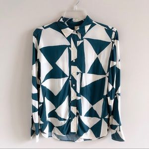 Ann Taylor LOFT Teal & White Geometric Career Top